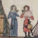 A prostitute with her purse in the Romance of Alexander