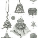 A selection of purse-themed pewter work from English finds