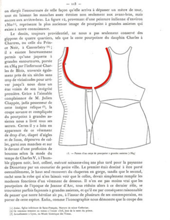 Charles de Blois body pattern with armhole outlined in red