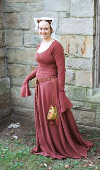 Author with purse in 1410 outfit
