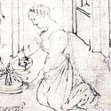 Woman making barley soup in the Tacuinum Sanitatis