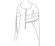 Lace-up dress covered by a button-front dress with short sleeves adorned with tippets
