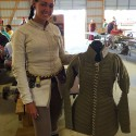 A civilian doublet and a padded gambeson, made by Natalie Sheppard