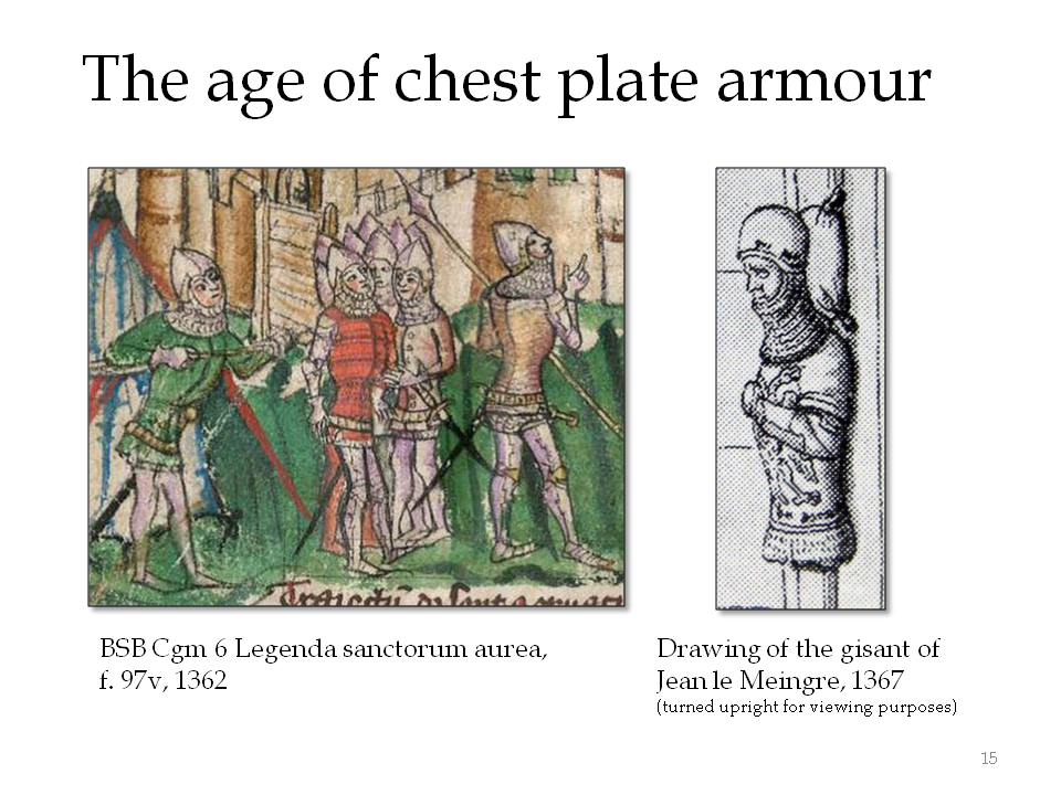 Rounded chest protection was ubiquitous by the 1360s