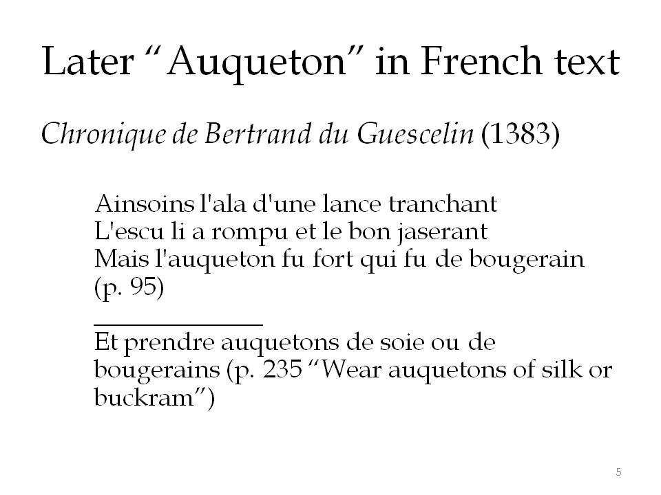 Later use of the term in French text