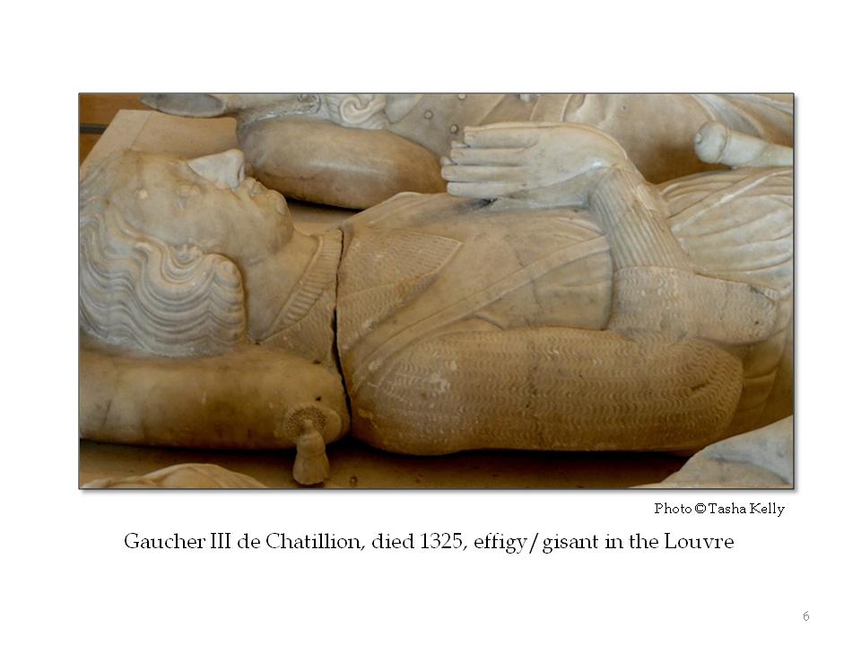 Gaucher III d Chatillon, d. 1325; fine-channeled aketon showing at wrists
