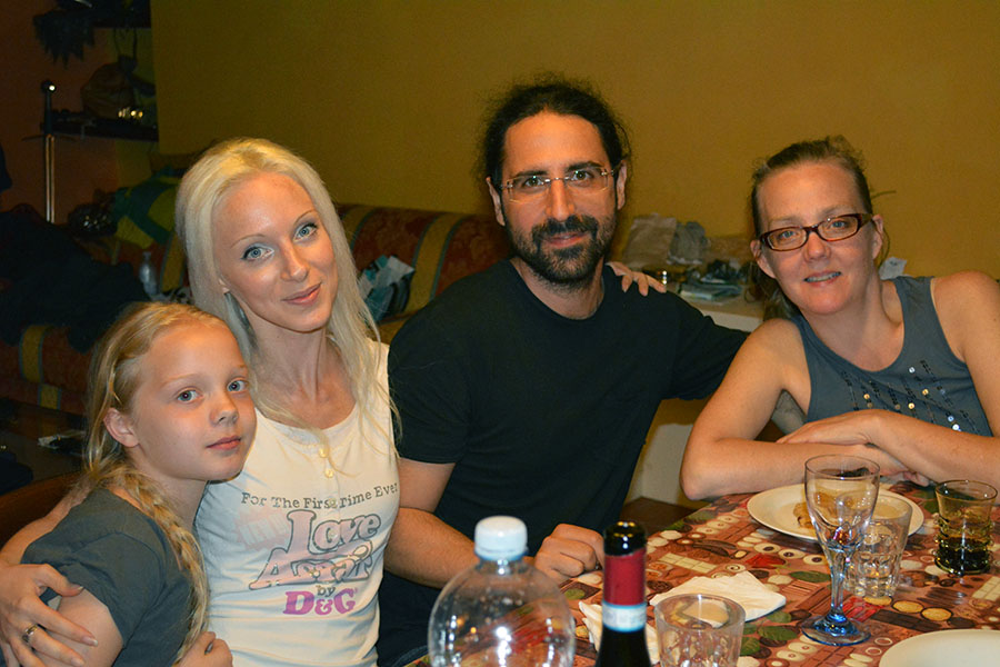 Bea, Giulia, Maurizio, and Sarah at dinner on Wednesday night.