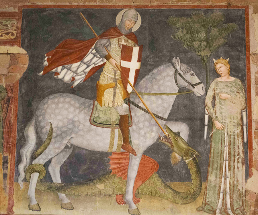 San Zeno fresco of St. George and the Princess; she looks pretty unconcerned.
