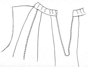 My sketch of how the seams appear at the top of the garment
