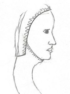 My sketch of Elizabeth's kruseler veil shape from the side