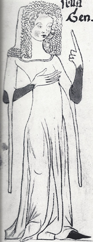 A highly fashionable lady from the late 1340s in the Velislav Bible