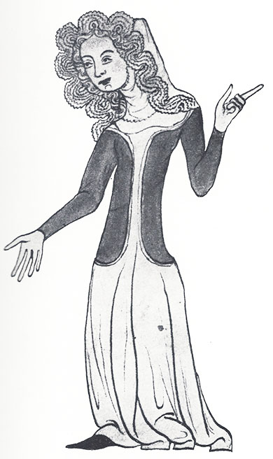 Another fashionable lady in a different version of a kruseler from the Velislav Bible