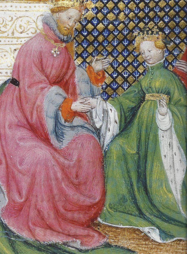 Solomon receiving the quieen of Sheba from a Bible Historiale. BNF MS fr-159 fol. 289v, Paris, 1400