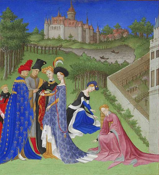 Les Très Riches Heures, month of May. Note the lady in pink. Her lining is a beautiful example of gris, the gray back fur from the Eurasian red squirrel. (Public domain)