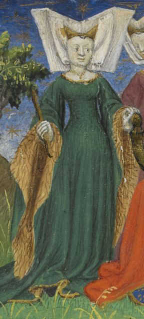 I believe this lady's sleeves are lined in beaver because of the light brown color combined with the roughness of the paint strokes. It implies that the fur is a bit rougher than, say, marten or foynes. Royal Ms. 20 B XX, fol. 7r, circa late 1420s.