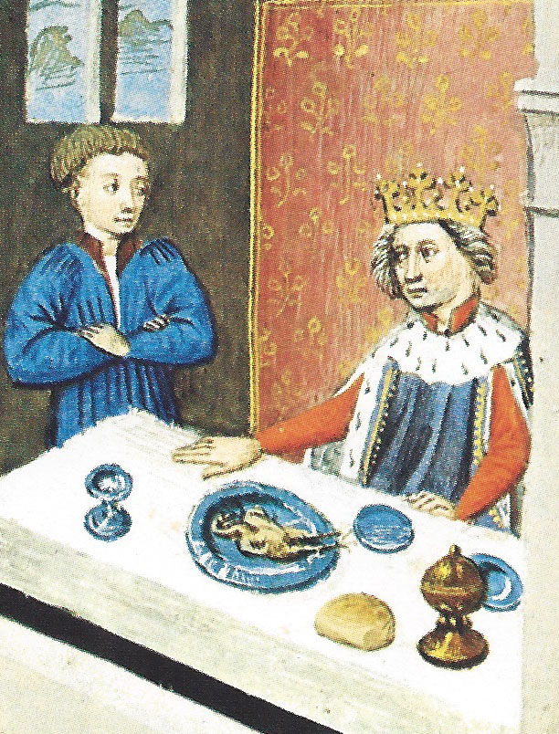 King Charles of Anjou, wearing an ermine-bedecked gardecorps. From The Decameron by Boccaccio. BNF, Arsenal MS 5070, Fol. 364v, circa 1430–1440.