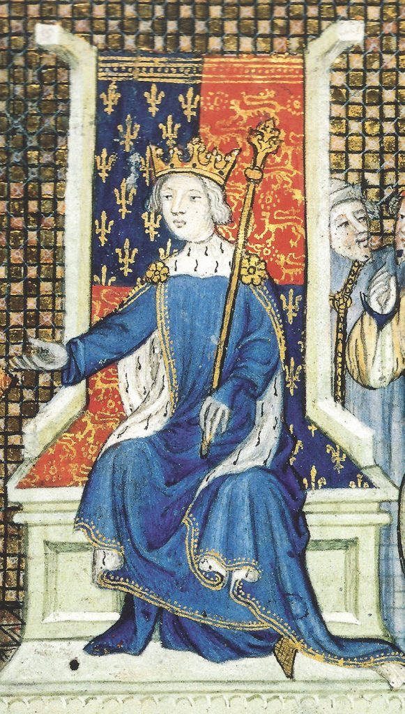 This Escher-esque mantle on King Richard II uses prominent ermine fur to signify his royalty. From BL Royal MS 20 B vi, fol. 2, circa 1395.