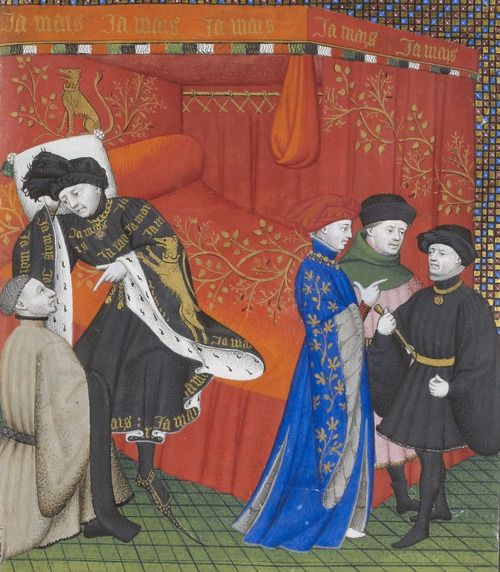 Charles IV's sumptuous black gown has a prominent ermine lining seen inside the pendant sleeves. Note also the beautiful depiction of gris on the courtier in blue. BNF Ms Francais 23279, fol. 19r, circa 1405–1415.
