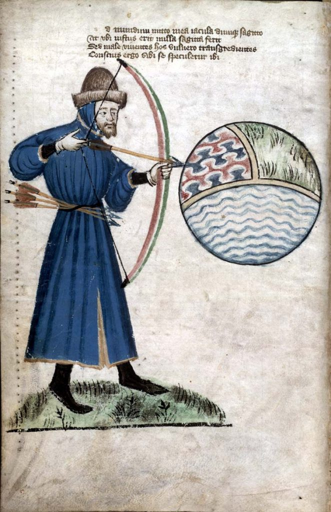 Another shaped hat probably made from beaver. John Gower in a portrait from a book with his Vox Clamantis and Chronica Tripertita in Glasgow Univ. Lib., MS Hunter 59 (T.2.17) folio 6v. This is from a revised edition of the book published c. 1400 (before Gower's death). Public Domain.