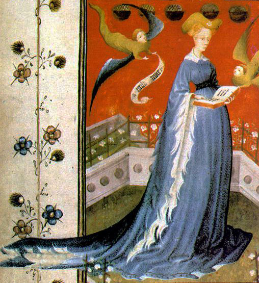 The fluttery, fine dags on Duchess Mary of Guelders are likely pured minever. Prayer Book of Marie de Harcourt -By Master of Mary of Guelders, working in Nijmegen (Web Gallery of Art: Image Info about artwork) [Public domain], via Wikimedia Commons https://commons.wikimedia.org/wiki/File%3APrayer_book_of_Maria_d'Harcourt_-_Staatsbibliothek_zu_Berlin_MsGermQuart42_-_f19v.jpg
