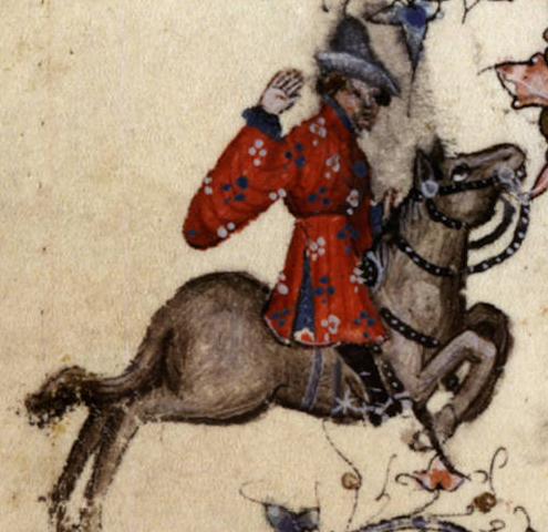 "Chaucer's Merchant from the Huntington Library's ""Ellesmere Chaucer"". Is this what a ""Flaundryssh bever hat"" looks like? A bycocket made of felted beaver fur?"