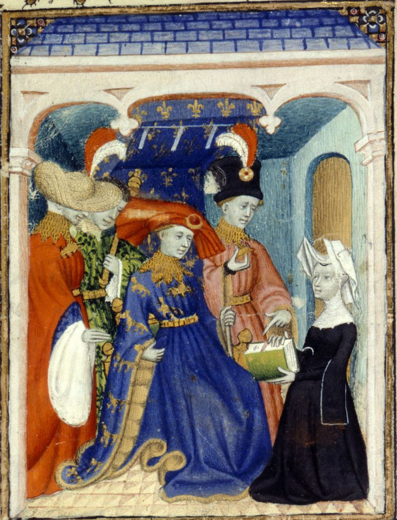 Christine de Pizan presenting her work to Louis of Orléans, from Harley Ms. 4431, fol. 95r, circa 1415. Note the pattern of Louis' brown fur lining; the pelts were laid so that the fur's nap points to the sleeve opening.