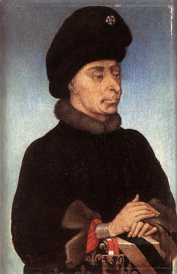 John the Fearless, Duke of Burgundy at the Musée royal des beaux-arts d'Anvers. Anonymous painter. (Pays-Bas méridionaux) — Web Gallery of Art:   Image  Info about artwork, Domaine public, https://commons.wikimedia.org/w/index.php?curid=1834418
