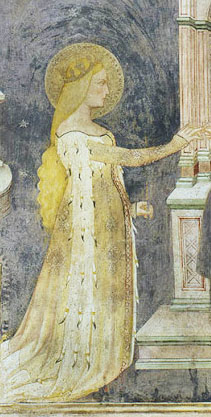 St. Catherine in the in the Oratory of St. Stephen, Lentate sul Seveso, Italy, circa 1377. Note her open, hanging ermine-bedecked sleeves. This was clearly a style in Italian lands of the mid-later 14th century.