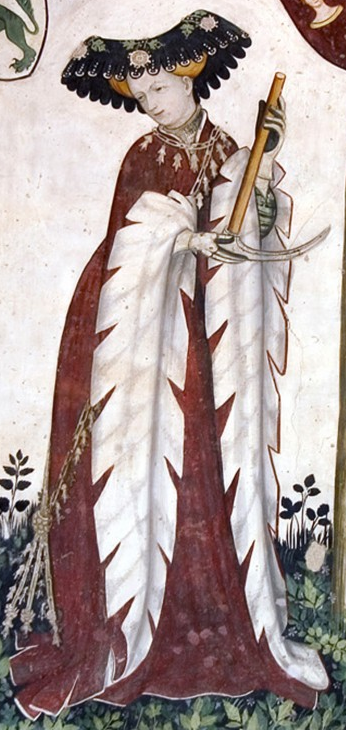Deiphille, the first of the nine female worthies painted on a wall fresco in the Castello della Manta in Saluzzo, Italy.