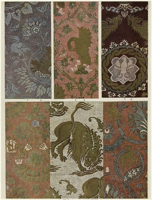 Italian silk damasks from the 14th century. The original uploader was Brian0918 at English Wikipedia (Original text: The New York Public Library) [Public domain], via Wikimedia Commons.
