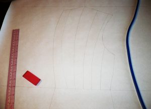 Drafting the back piece, in progress.