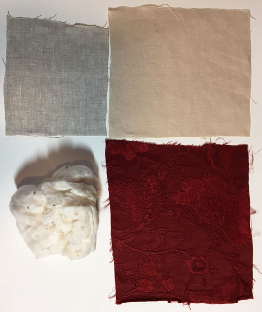 Clockwise from top left: undyed tabby-woven linen from fabrics-store.com; a warm, oyster tabby-woven linen from ulsterlinen.com, the crimson-dyed silk lampas, and raw cotton.