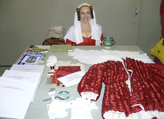 Displaying my project in August 2012 at the Arts & Sciences Exhibit at Pennsic War, an event sponsored by the Society for Creative Anachronism.