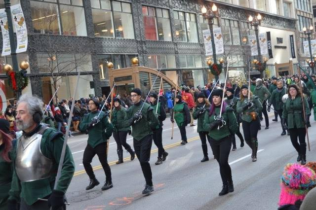 The Chicago Swordplay Guild marching in the Macy's Thanksgiving Day Parade in downtown Chicago, November 24, 2016.