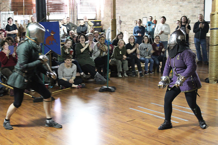 Erin, encouraging a dagger fight with Christian Cameron, one of the visiting challengers at her Free Scholar Prize Play.