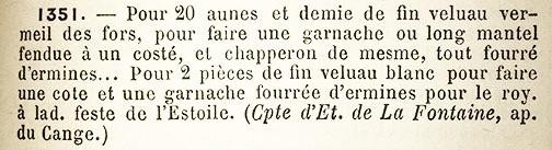 The garnache was a cloak made with an integral, fur-adorned shoulder mantle.