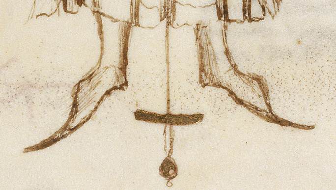 The Master's calves and feet as originally drawn.