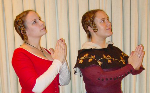 Charlotte Johnson and me, posing as church donors memorialized in art. Photo from 2002.