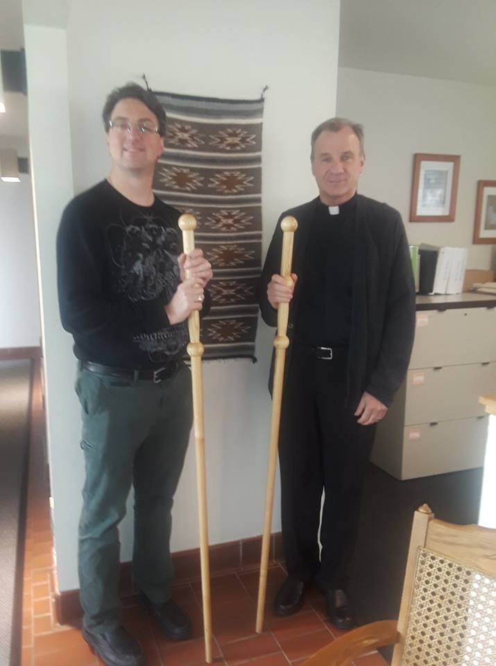 Greg and Father David Hankus at St. James the Apostle Catholic Church in Glen Ellyn, IL, USA.