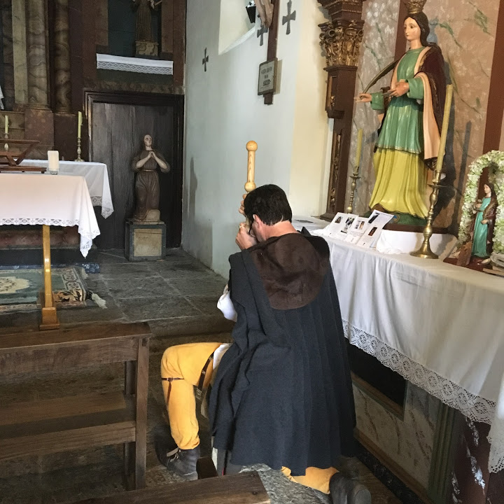 Greg stopped to pray at a little church on the outskirts of Santiago de Compostela.