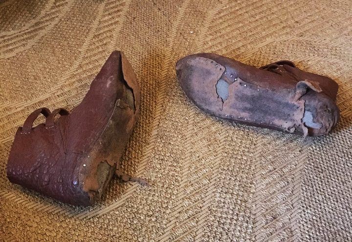 By the end of Day Three, Greg's substitute shoes from Bohemond had worn out completely. The soles were not made of sturdy enough leather to withstand all-day walking, day after day on rough surfaces.
