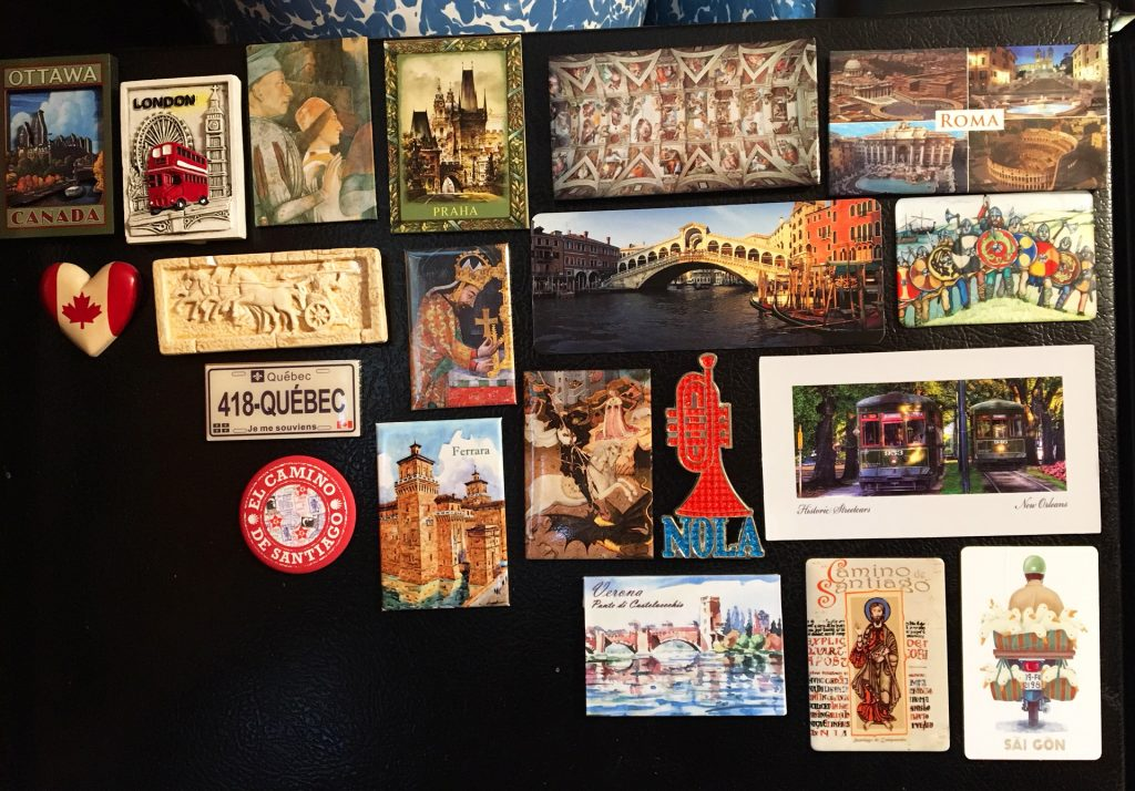 Fridge magnets I've collected since 2014. A few were gifts -- the Greek one and the Saigon one -- but mostly they're my selections from our travels. I have an earlier collection in storage somewhere, defying my wish to display them fondly.