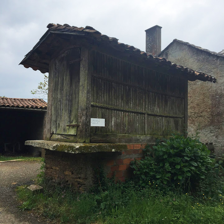 A typical raised grainery in Galicia. Most are unused now, and exist in varying degrees of maintained.