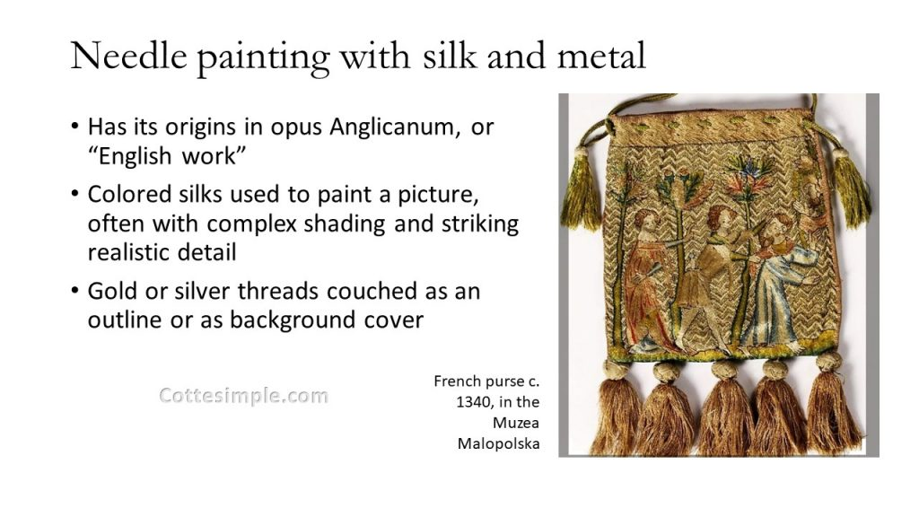 Needle painting with silk and metal threads. An image of a French purse circa 1340, in the Muzea Malopolska.