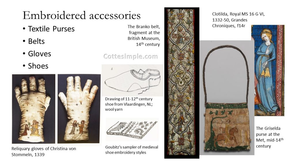 Embroidered accessories. Photos of a pair of embroidered gloves, belt, and purse