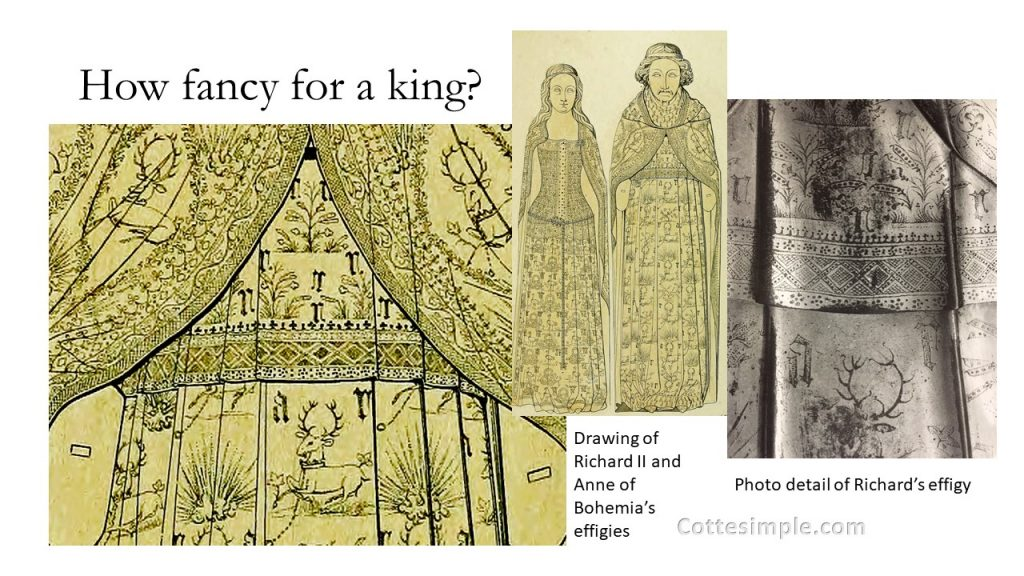 How fancy for a king? Drawing of Richard II of England and his wife, Anne of Bohemia, in effigy with complex designs on their garments; photo of detail from the tomb