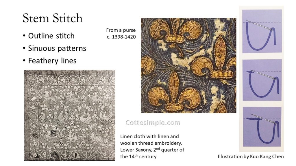 Stem Stitch; Outline stitch; Sinuous patterns; Feathery lines. Close-up photo of a purse circa 1398-1420; Photo of a tablecloth from Lower Saxony in the 2nd quarter of the 14th century containing stem stitching