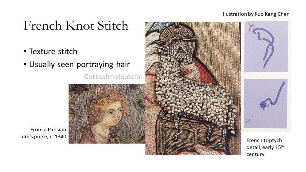 French Knot Stitch; Texture stitch; Usually seen portraying hair; Close-up photo of a sheep's fleece portrayed with French knots in a French triptych, early 15th century. A close up of a man's hair in French knots from an alms purse dated to 1340.