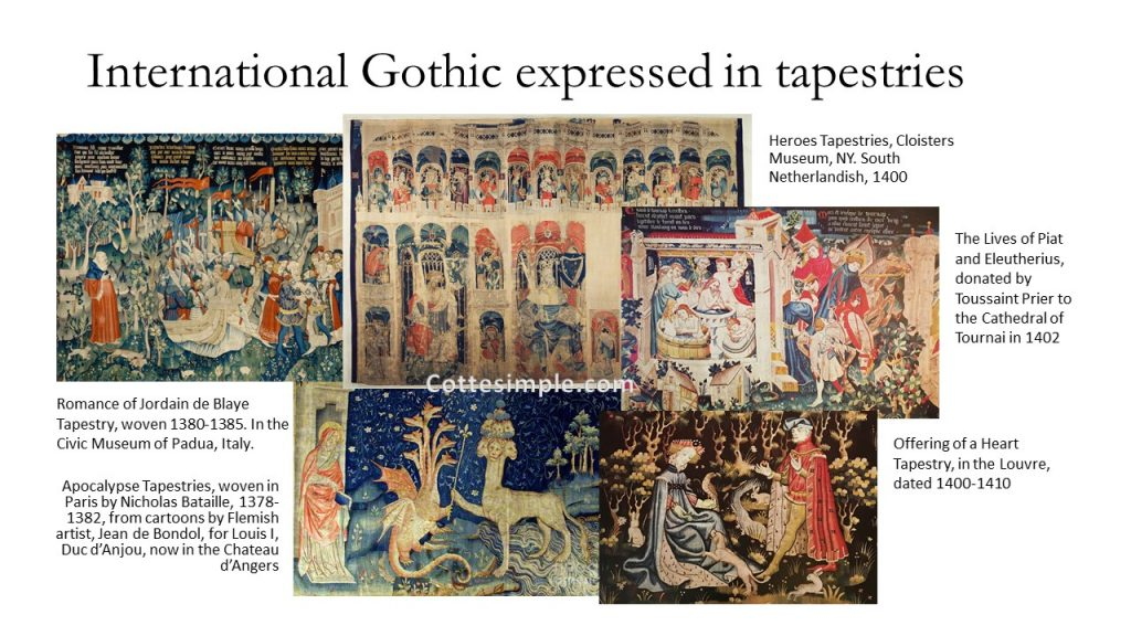 International Gothic expressed in tapestries. A series of photos depicting tapestries that were woven in the late 14th or early 15th century in Europe.
