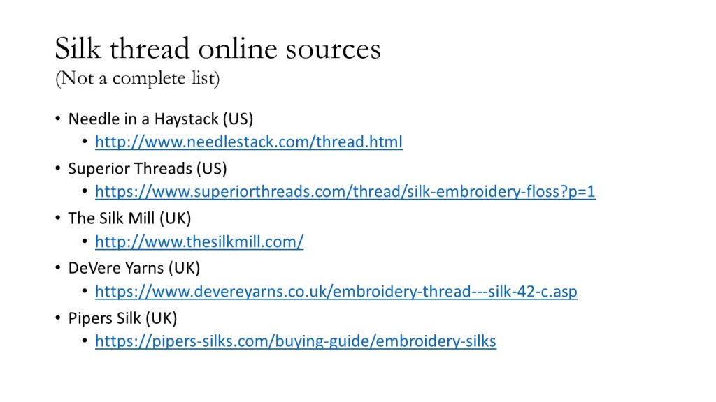 Silk thread online sources. A list of websites selling silk embroidery floss.
